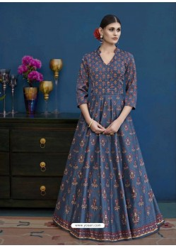 Dark Blue Thapa Silk Printed Floor Length Suit
