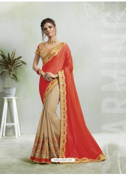 Red And Cream Georgette Silk Stone Embroidered Party Wear Saree