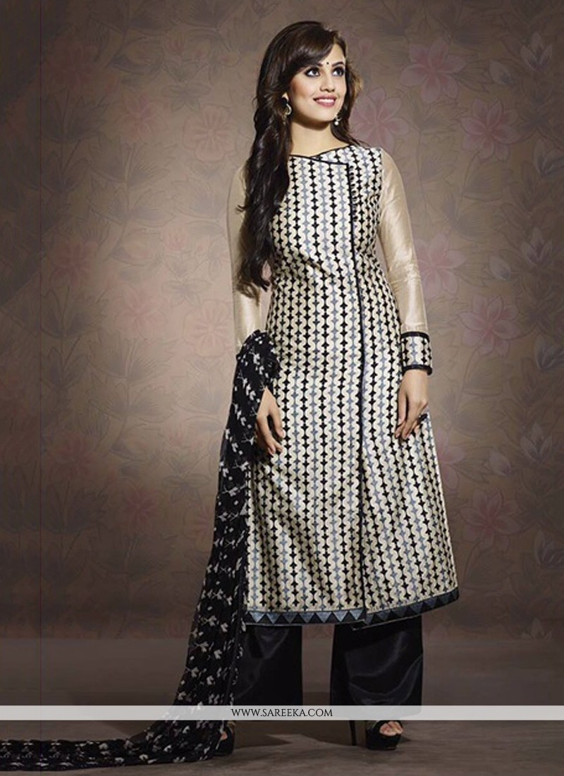 Fab White And Black Chanderi Palazzo Suit