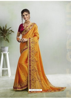 Yellow Two Tone Georgette Stone Embroidered Party Wear Saree