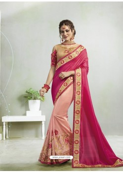 Rose Red And Pink Vichitra Silk Georgette Stone Embroidered Party Wear Saree