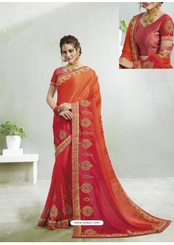 Orange And Red Rangoli Georgette Stone Embroidered Party Wear Saree