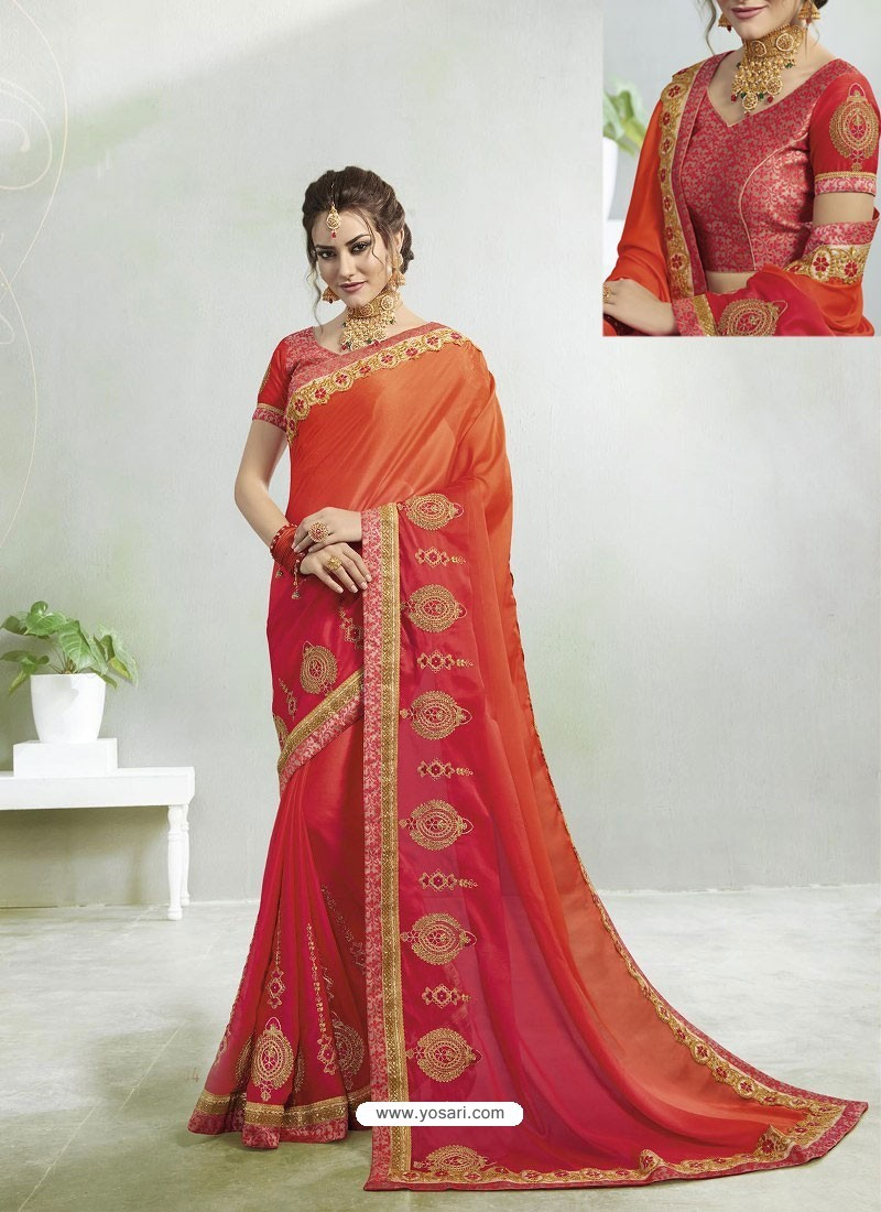 3a1404d87a7df Buy Orange And Red Rangoli Georgette Stone Embroidered Party Wear ...