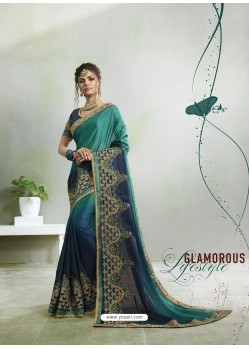Teal And Navy Rangoli Georgette Stone Embroidered Party Wear Saree