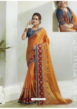 Mustard Two Tone Georgette Stone Embroidered Party Wear Saree