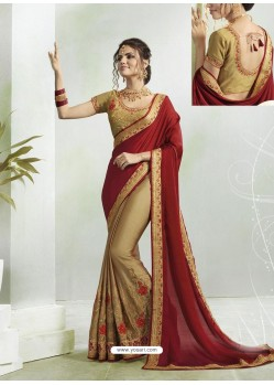 Maroon And Gold Georgette Silk Stone Embroidered Party Wear Saree