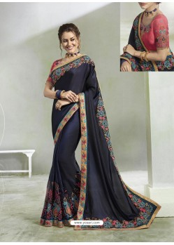 Navy Blue Rangoli Georgette Stone Embroidered Party Wear Saree