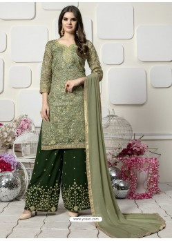 Mehendi Green Organza Heavy Embroidered Plazzo Suit