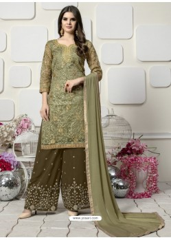 Olive Green Organza Heavy Embroidered Plazzo Suit