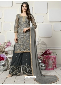 Grey Organza Heavy Embroidered Plazzo Suit