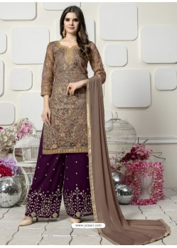 Light Brown And Purple Organza Heavy Embroidered Plazzo Suit