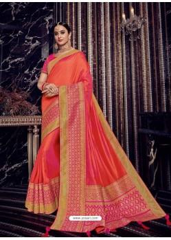 Orange Silk Jacquard Pallu Work Designer Saree