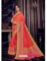 Orange Silk Jacquard Pallu Work Designer Saree