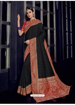 Black Silk Jacquard Pallu Work Designer Saree