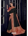 Black Silk Jacquard Pallu Work Designer Saree