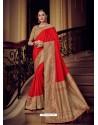 Red Silk Jacquard Pallu Work Designer Saree