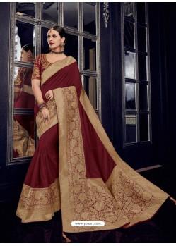 Maroon Silk Jacquard Pallu Work Designer Saree