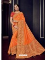 Orange And Gold Silk Jacquard Pallu Work Designer Saree
