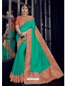 Jade Green Silk Jacquard Pallu Work Designer Saree