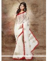 Amazing Off White Faux Georgette Designer Saree