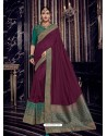 Wine Silk Jacquard Pallu Work Designer Saree
