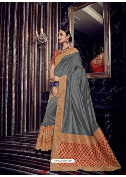 Grey Silk Jacquard Pallu Work Designer Saree