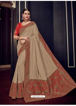Beige Silk Jacquard Pallu Work Designer Saree