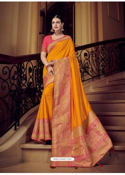 Beautiful Orange Silk Jacquard Pallu Work Designer Saree