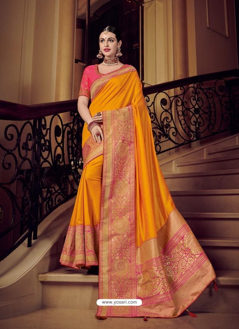 8dabd3c325 Buy Beautiful Orange Silk Jacquard Pallu Work Designer Saree ...