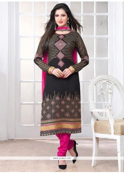 Tantalizing Black Georgette Churidar Salwar Suit