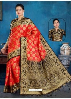 Red Art Silk Jacquard Worked Designer Saree