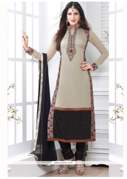 Amazing Grey Georgette Churidar Salwar Suit