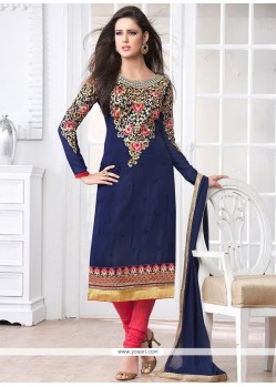 Stunning Blue Georgette Churidar Suit