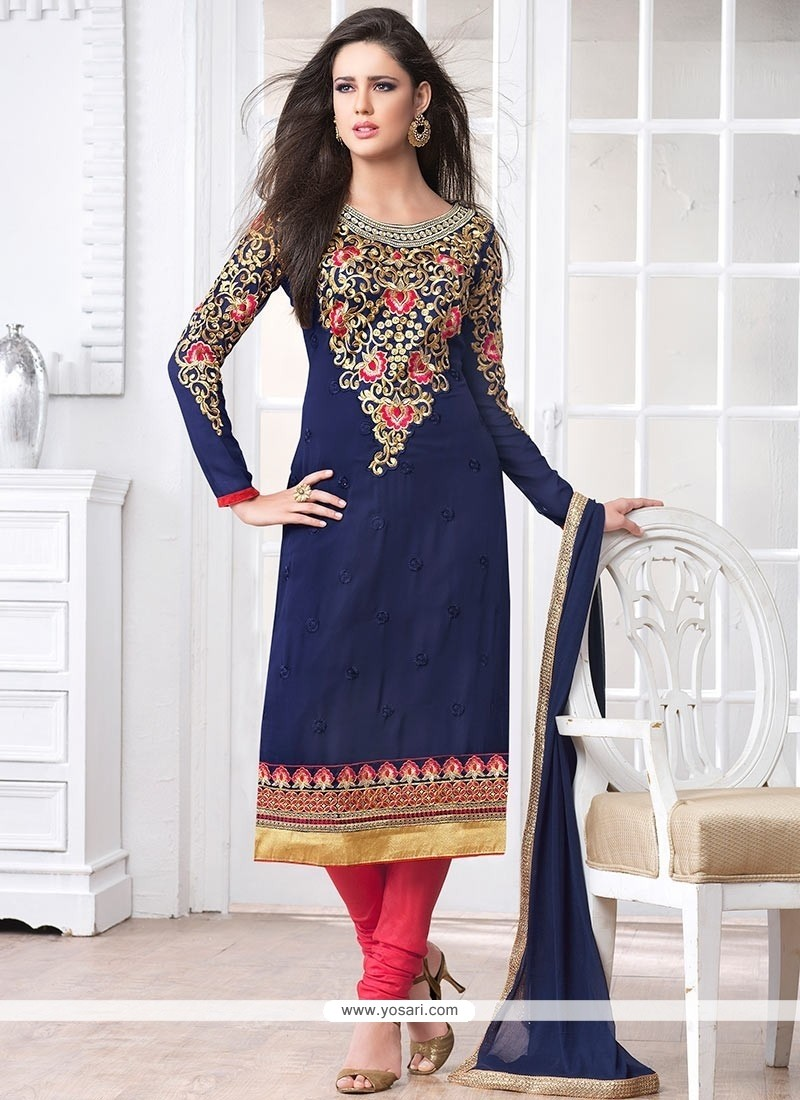 Stunning Blue Georgette Churidar Suit