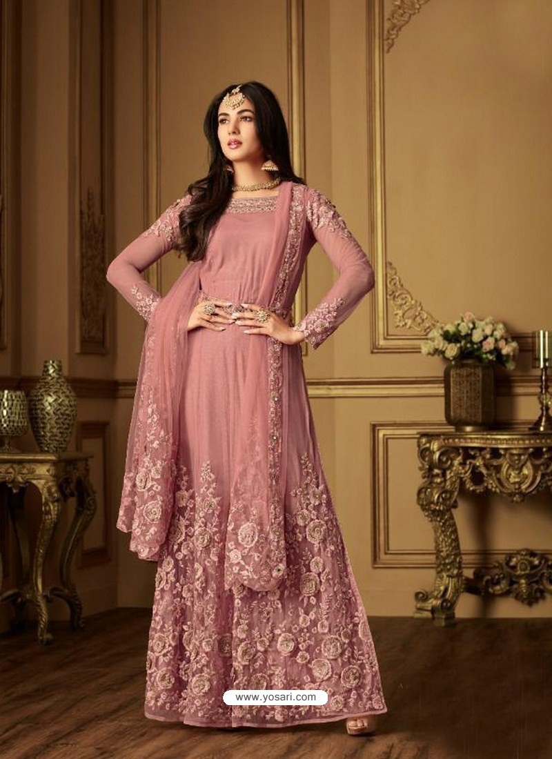 60e5833fc8 Buy Peach Net Designer Anarkali Suit | Anarkali Suits