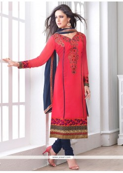 Pleasant Red Georgette Churidar Suit
