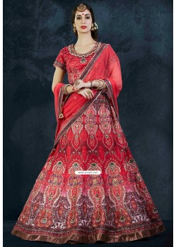 Embroidered Art Silk Circular Red Lehenga