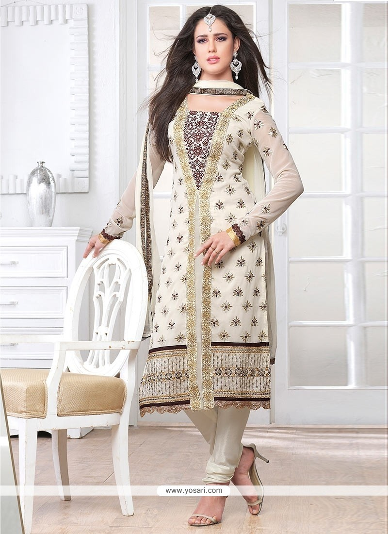 Pleasing Off White Embroidery Work Churidar Salwar Suit