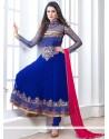 Ombre Blue Georgette Anarkali Salwar Kameez