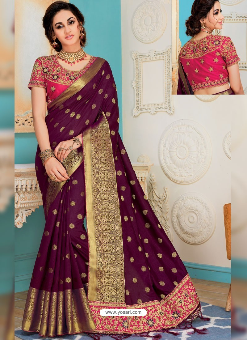 a568d609dad57c Buy Purple Raw Silk Heavy Embroidered Designer Saree With Readymade ...