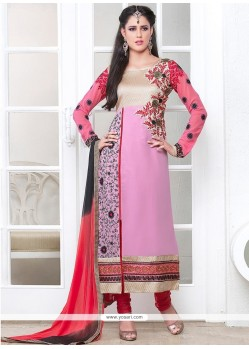 Flashy Pink Georgette Churidar Salwar Suit
