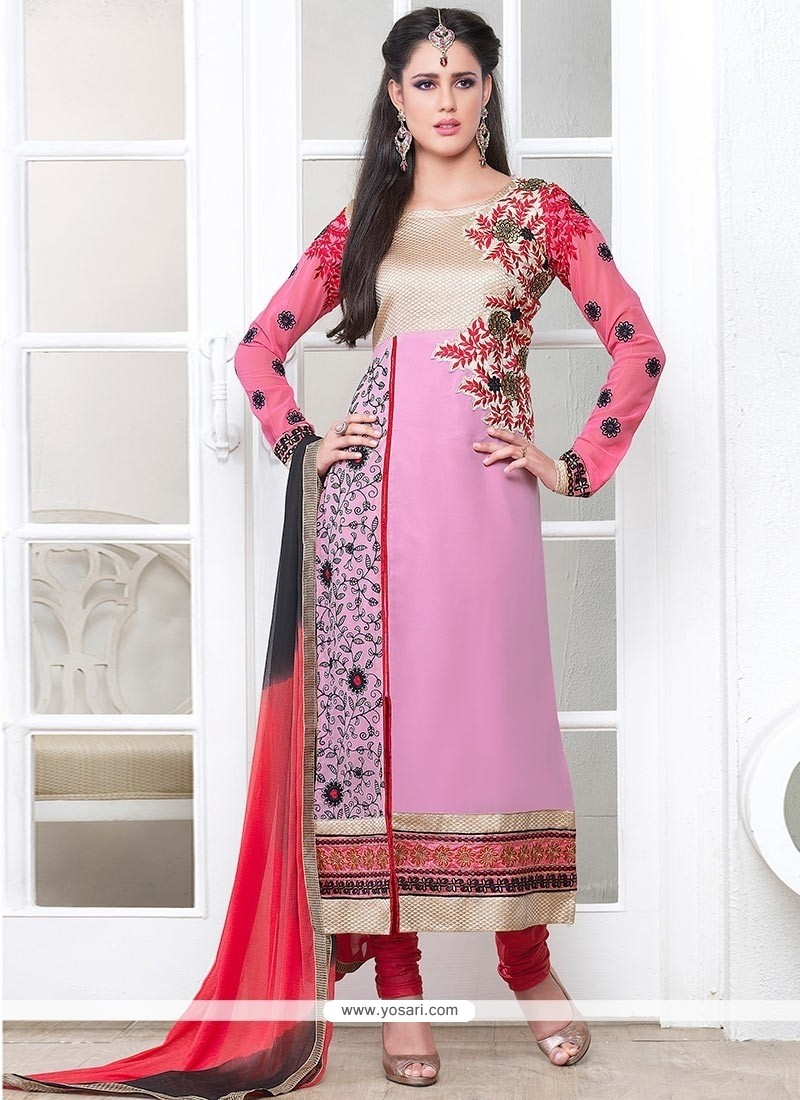 Flashy Pink Georgette Churidar Salwar Suit