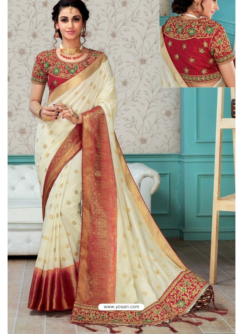 18301ee3d9544 Off White Raw Silk Heavy Embroidered Designer Saree With Readymade Blouse