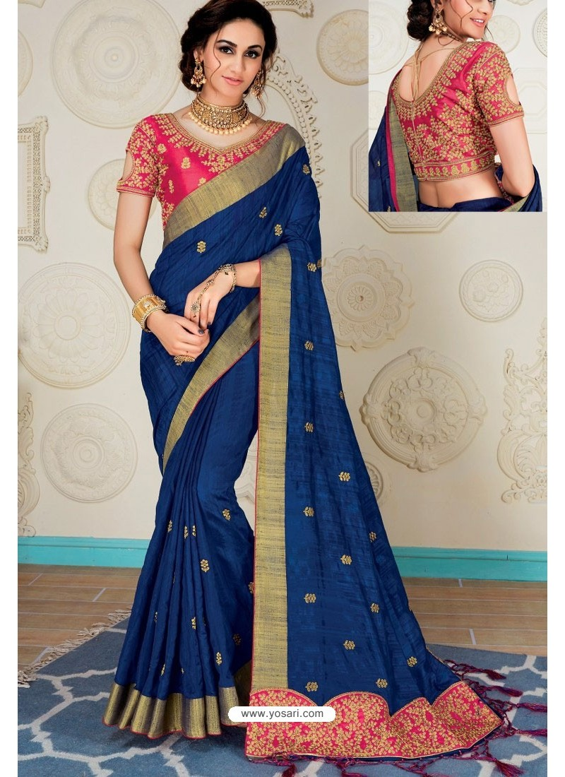 ac30a5cb6a9aa9 Stylish Navy Raw Silk Heavy Embroidered Designer Saree With Readymade Blouse