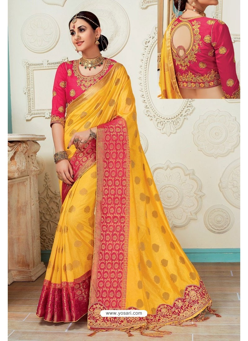2b27f67fcba362 Buy Yellow Raw Silk Heavy Embroidered Designer Saree With Readymade ...
