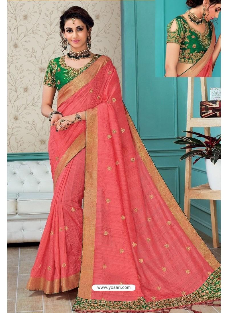 0687e8850c8337 Buy Peach Raw Silk Heavy Embroidered Designer Saree With Readymade ...