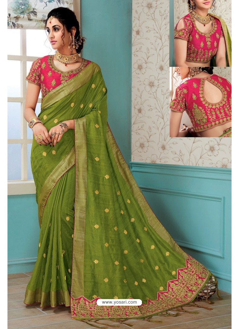 a6f95b23d890de Forest Green Raw Silk Heavy Embroidered Designer Saree With Readymade Blouse