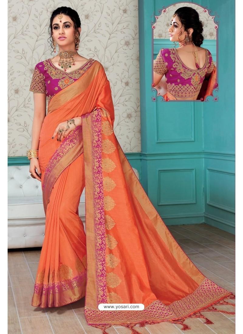 fd3463124963c3 Buy Orange Raw Silk Heavy Embroidered Designer Saree With Readymade ...