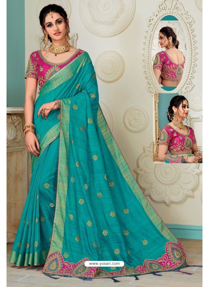 b9ad13b66adb03 Turquoise Raw Silk Heavy Embroidered Designer Saree With Readymade Blouse