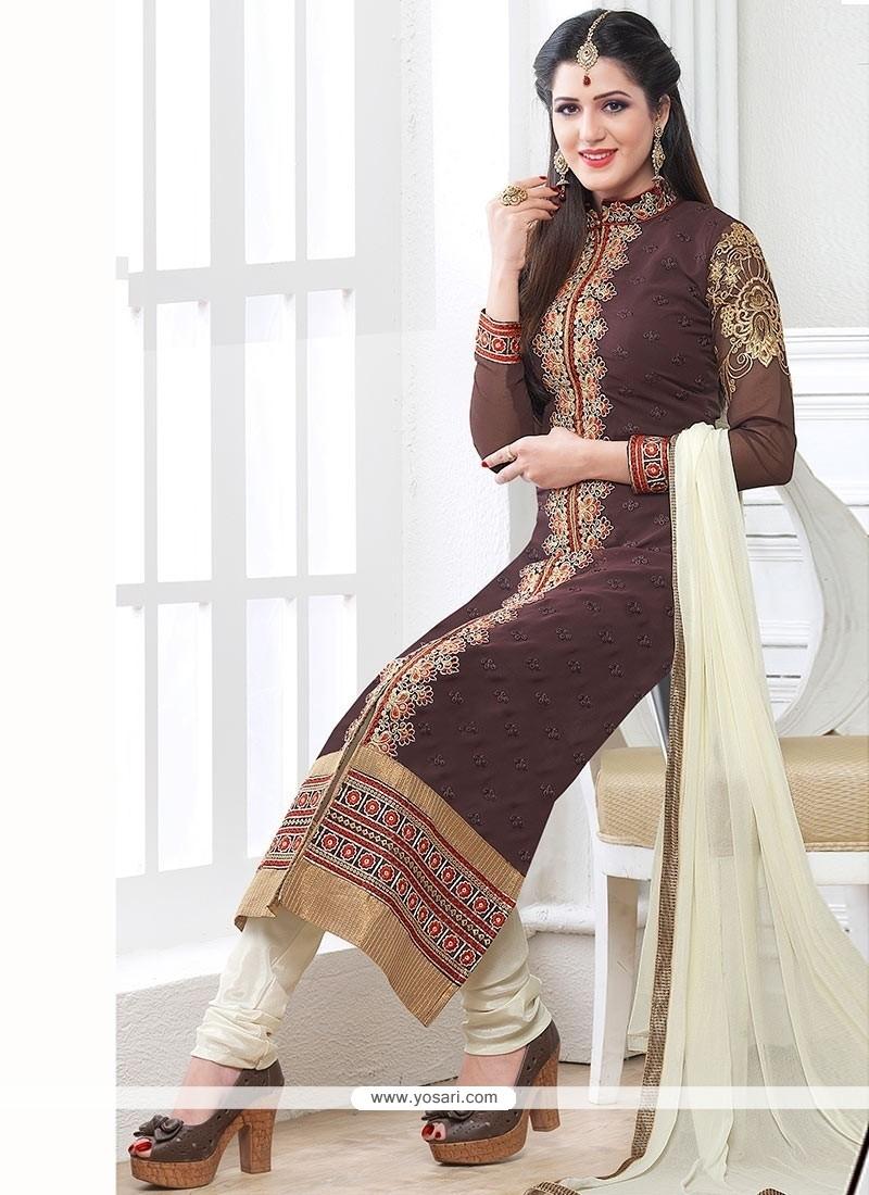 Brown Georgette Churidar Salwar Suit